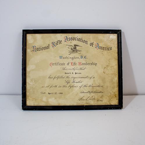 NRA Membership Certificate 1966