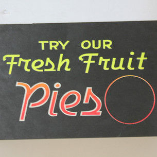 Try Our Fresh Fruit Pies sign. With blank circle for price to be written in
