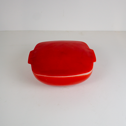 Red Covered Casserole Dish