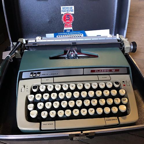 Blue and Grey Smith Corona Typewriter Classic 12
