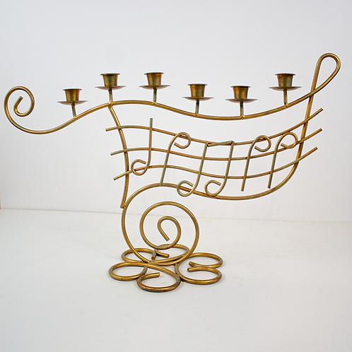 Gold Music Staff Tabletop Candelabra