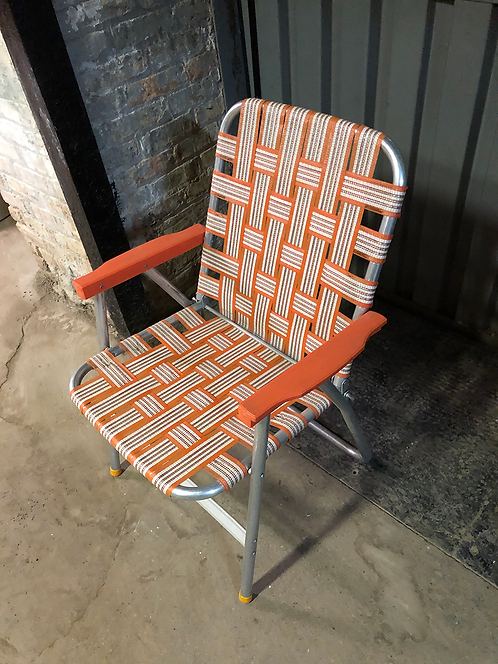 Aluminum Lawn Chair with Orange Webbing