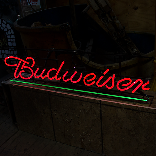Budweiser Red and Green Script Neon