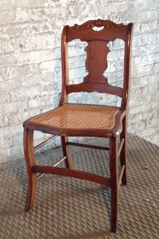 Wood Chair Wicker Cane Seat