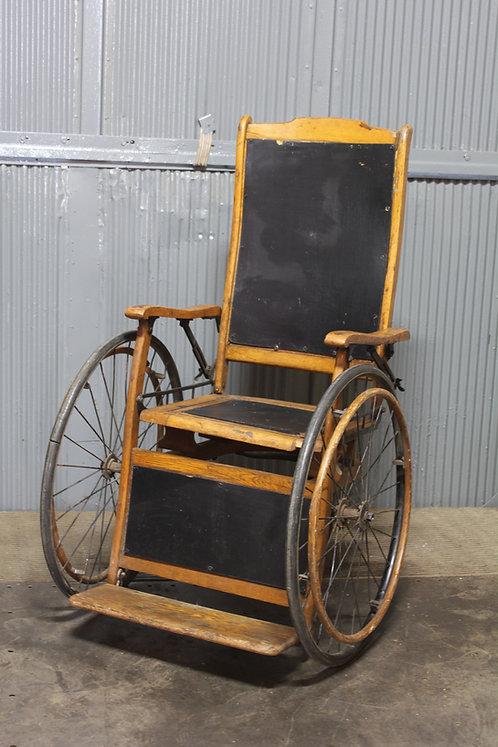 Antique Wheel Chair Wood w/ Black