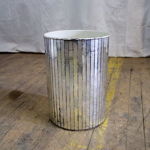 Silver Mirrored Trash Can