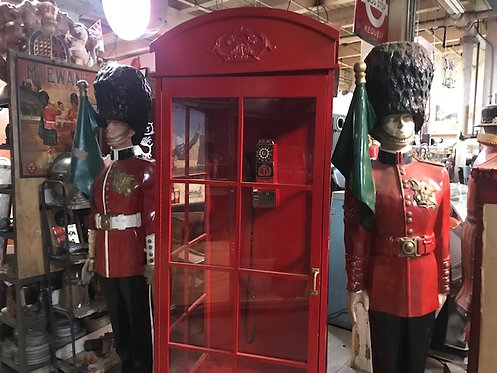 Red British Phone Booth & The Queen's Guards