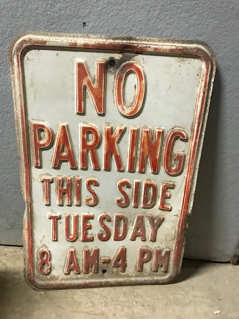 No Parking Tuesday Sign
