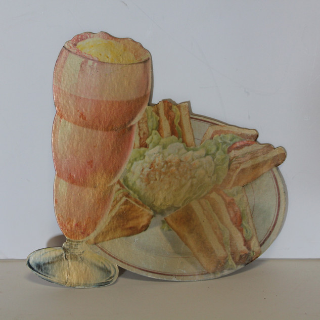 Illustrated Ice Cream Float and BLT sandwhich sign