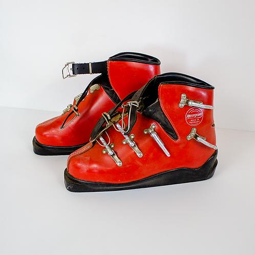 Vintage Red Ski Boots