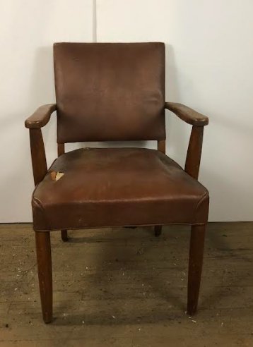 Worn Brown Leather Office Arm Chair