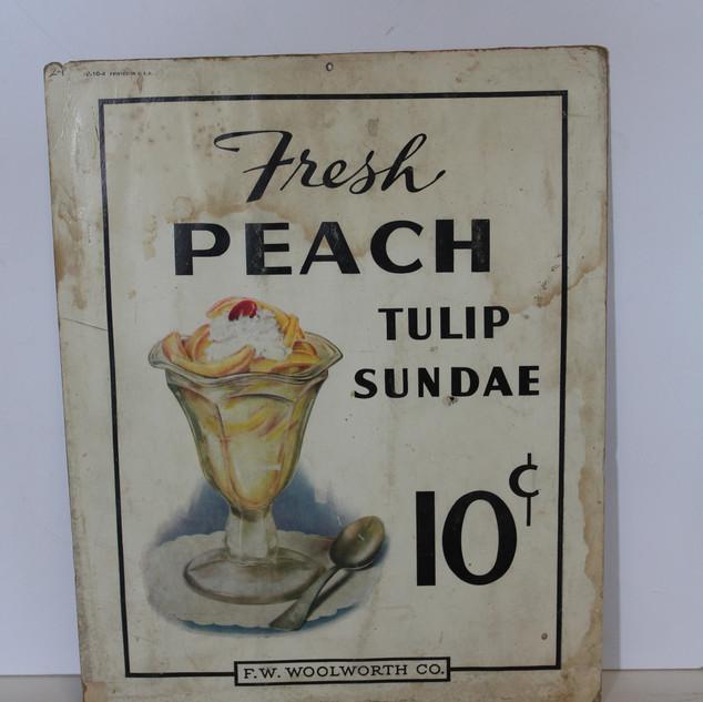 Fresh Peach Tulip Sundae 10 cents