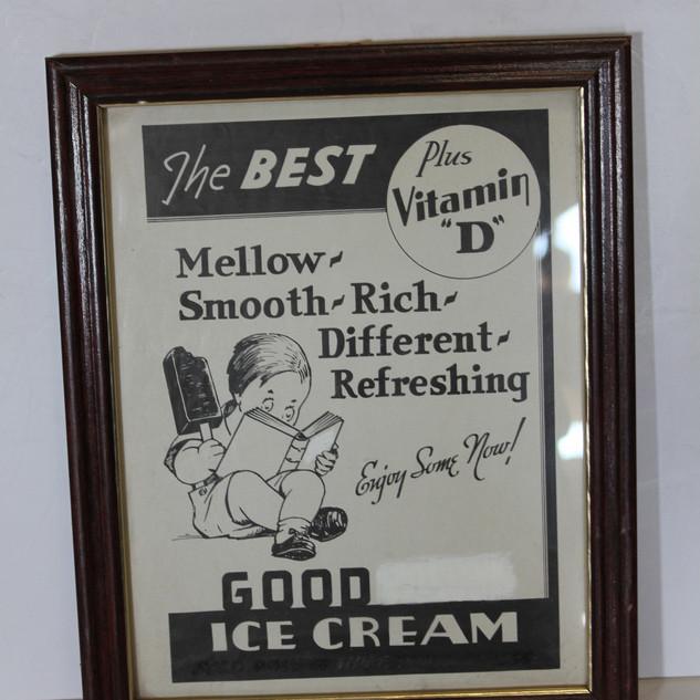 Ice cream framed sign