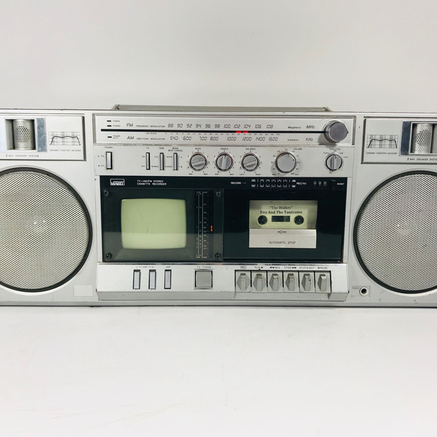 Montgomery Ward boom box with cassette tape player and television console