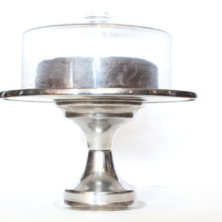 Artificial cake with stand and glass lid