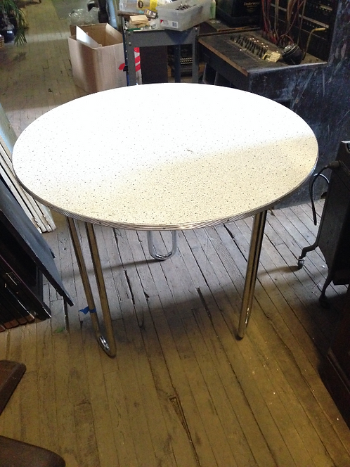Round Formica and Chrome Table