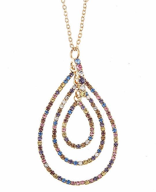 Multi Color Stone Teardrop Pendant Necklace -3017