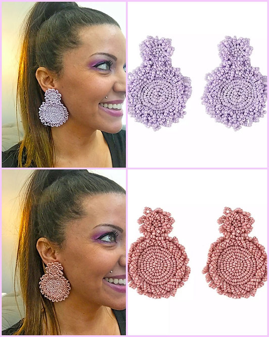 Double Seed Bead Disc Earrings -2065