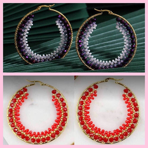 Beaded Hoop Earrings- Red or Purple -2012