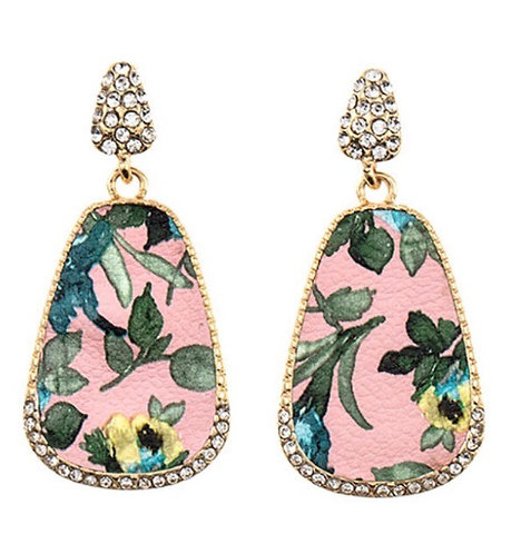 Floral Printed with CZ Dangle Earrings- Pink -2084