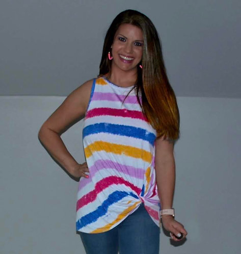 Multi Color Stripe Sleeveless Top- Twisted Front 6014