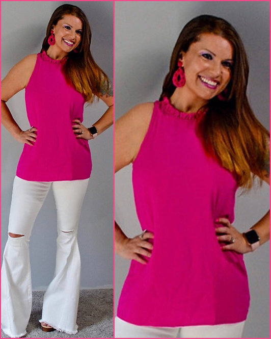 Ruffle Neck Sleevless Top-Hot Pink 6012