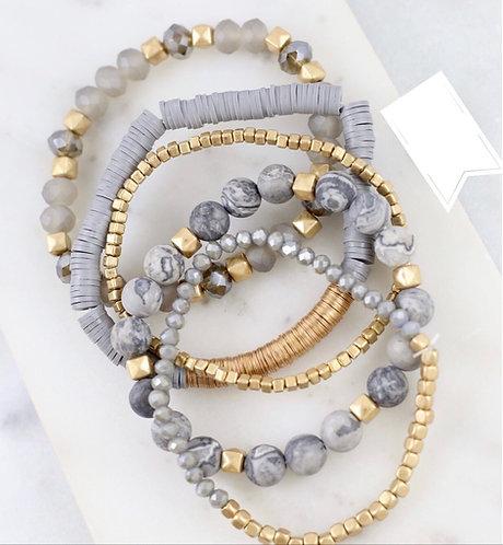 Mix Beads Stretch Bracelet- Gray -4002