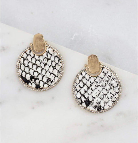 Round CZ Lined Snake Print Earring-2006