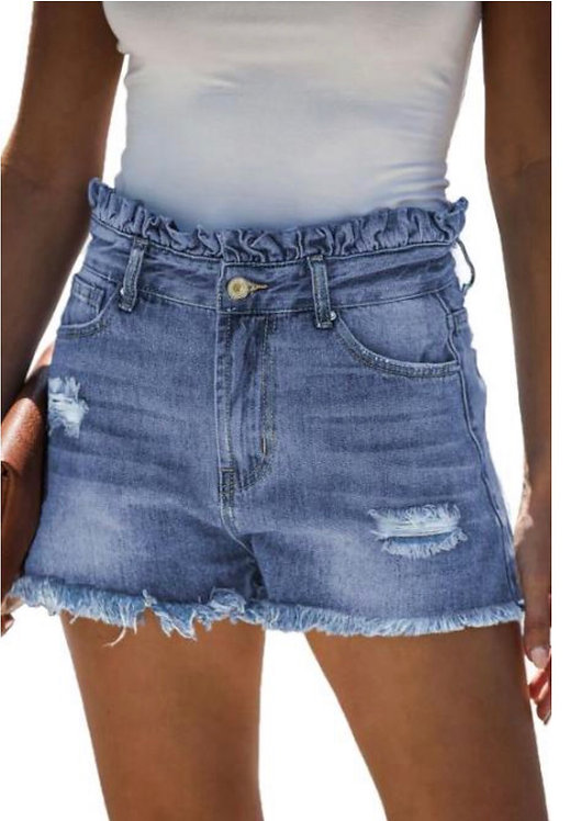 High Rise Ruffle Waist Denim Shorts- 9018
