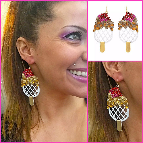 Rhinestone Popsicle Earrings - 2068