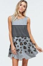 Swing Dress/Tunic - Grey Stripe Leopard 7010
