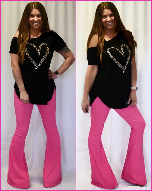 Hot Pink Bell Bottom Jeans - 9061