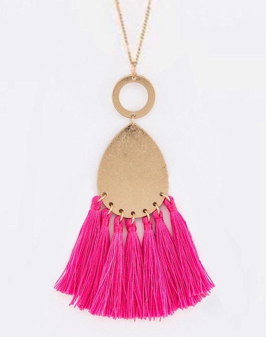 Hot Pink Tassel Pendant Necklace - 3045