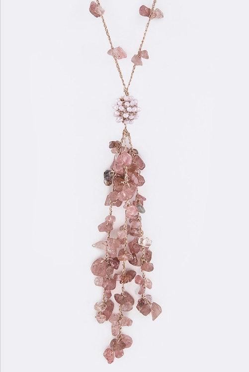 Bead & Stone Tassel Necklace - Pink- 3036