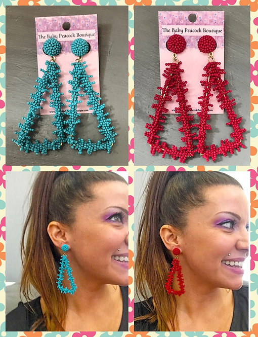 Beaded Triangles- Turquoise or Magenta -2056