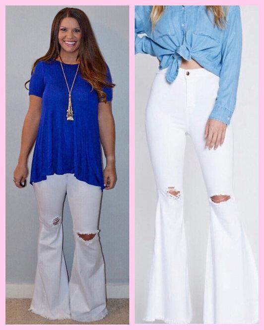 White Bell Bottom Jeans- 9046