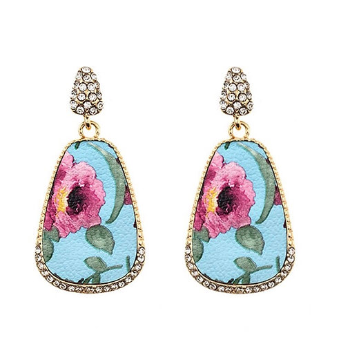 Floral Printed with CZ Dangle Earrings-Turquoise -2085