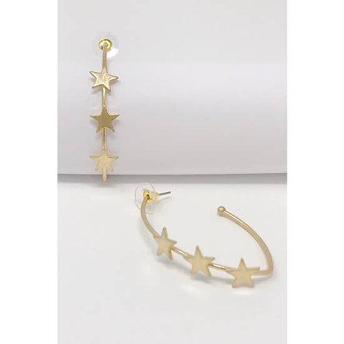Three Star Hoop Earrings -2023