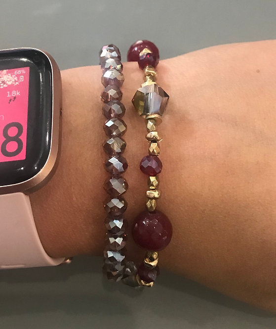 Mix Beads Stretch Bracelet Set- Red -4003
