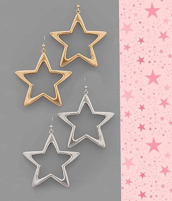 Star Outline Earrings- Gold or Silver- 2049