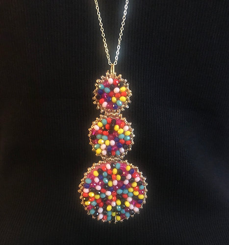 Seed Bead Triple Disc Necklace -3057