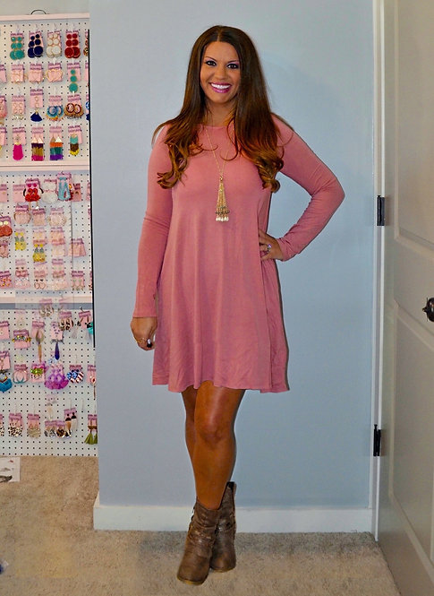 Fall Dress with Pockets - Dusty Pink -7020