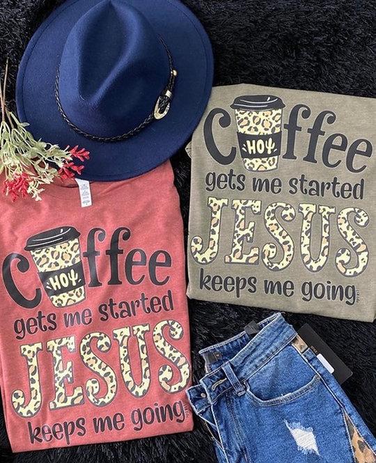 """""""Coffee & Jesus""""-  Heathered Olive or Rust-  6121"""
