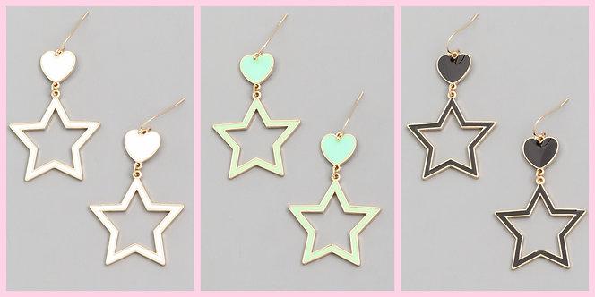Heart & Star Dangle Earrings -2082