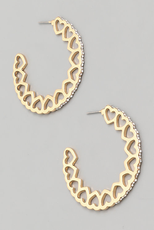 Encrusted Heart Hoops- Gold or Silver -2037