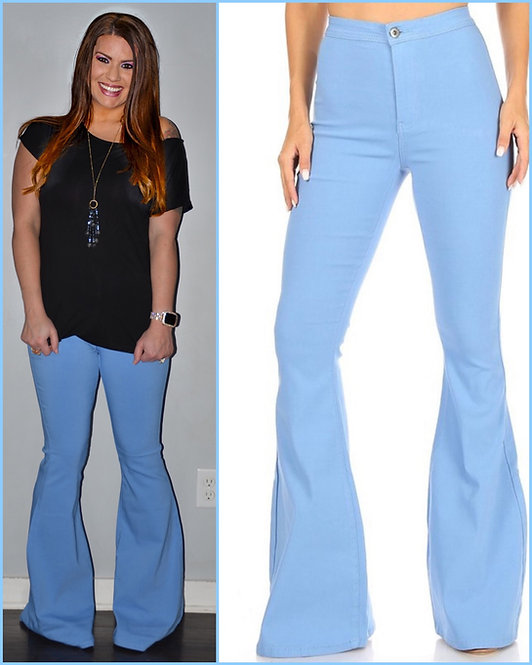 Baby Blue Bell Bottom Jeans - 9059