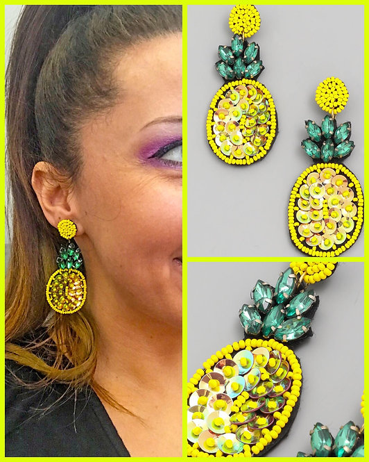 Sequin & Rhinestone Pineapple Earrings -2054