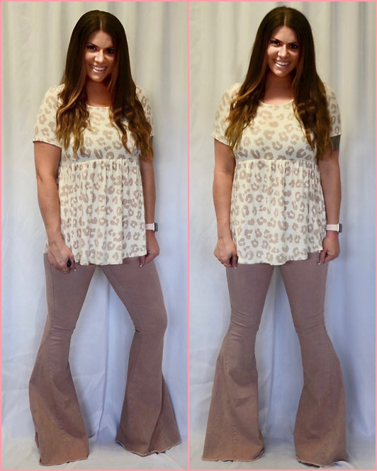 Blush Pink Mineral Washed Bell Bottoms - 9065