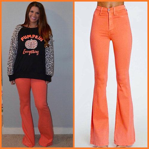 Coral/Orange Boot Cut Jeans- 9047