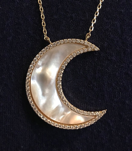 Paved Pearl Crescent Pendant Necklace -3031